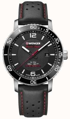 Wenger Roadster Black Night 45mm Black Dial Black Leather 01.1841.101