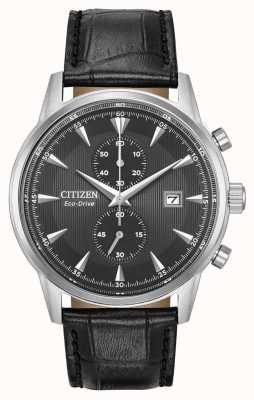 Citizen Mens Corso Chronograph Black Leather Strap Black Dial CA7000-04H