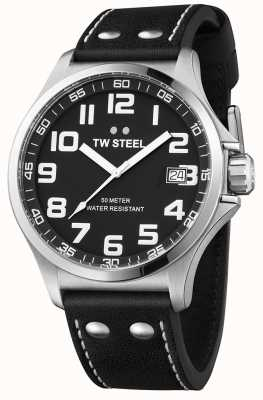 TW Steel Mens Pilot Black Leather Strap Black Dial TW408