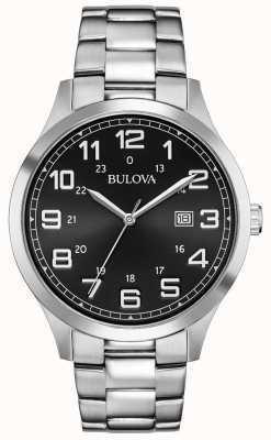Bulova Date Display Black Face Stainless Steel Metal Bracelet 96B274