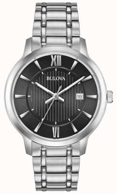 Bulova Date Display Black Face Stainless Steel Metal Bracelet 96B278