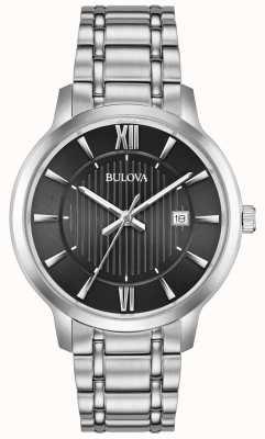 Bulova Date Display Black Face Stainless Steel Metal Bracelet 96B278