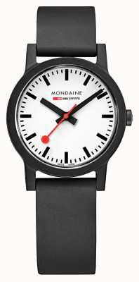 Mondaine Essence Quartz Black Natural Rubber Strap MS1.32110.RB