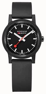 Mondaine Essence Quartz Black Dial Black Natural Rubber Strap MS1.32120.RB