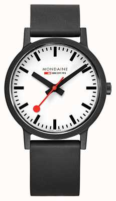 Mondaine Essence Quartz Black Natural Rubber Strap White Dial MS1.41110.RB