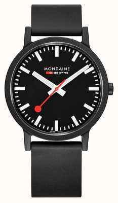 Mondaine Essence Quartz Black Natural Rubber Strap Black Dial MS1.41120.RB