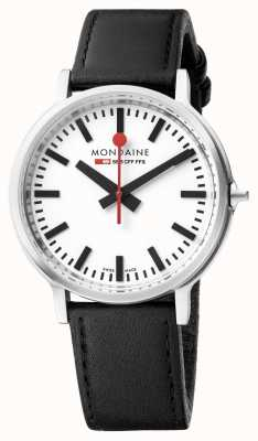 Mondaine Unisex Stop2go BackLight | Black leather strap | MST.4101B.LB