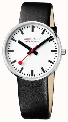 Mondaine Giant BackLight Black Leather Strap White Dial MSX.4211B.LB
