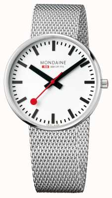 Mondaine Giant BackLight Stainless Steel Mesh Strap White Dial MSX.4211B.SM