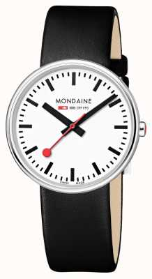Mondaine Mini Giant BackLight Black Leather Strap White Dial MSX.3511B.LB