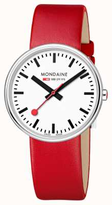 Mondaine Mini Giant BackLight RedLeather Strap White Dial MSX.3511B.LC