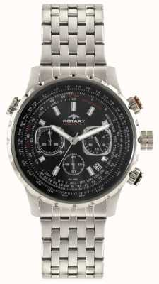Rotary Mens Chronograph Stainless Steel Bracelet Black Dial GB00185/04