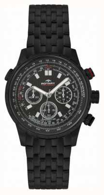 Rotary Mens Chronograph Black IP Steel Black Dial GB00177/04S