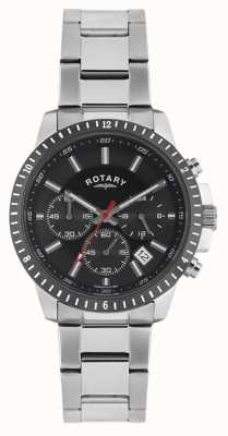 Rotary Mens Chronograph Stainless Steel Bracelet Black Dial GB00173/04S