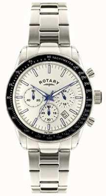 888bc673ce39 Rotary Mens Chronograph Stainless Steel Bracelet White Dial GB00470 01
