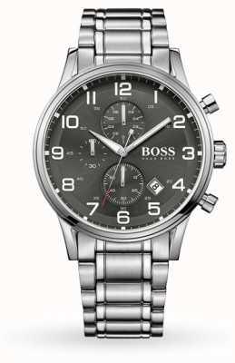 Hugo Boss Aeroliner Date Display Grey Dial Stainless Steel Bracelet 1513181