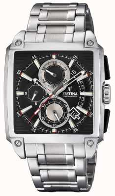 Festina Chronograph Square Dial Date Display Steel Bracelet F20264/3