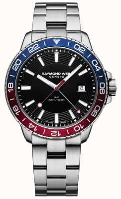 Raymond Weil Tango Quartz GMT Black Dial Pepsi Bezel 8280-ST3-20001