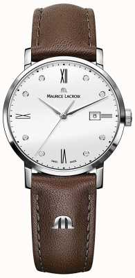 Maurice Lacroix Eliros Diamond Set Brown Leather Watch EL1084-SS001-150-2