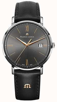 Maurice Lacroix Eliros Black Leather And Silver Case With Gold Accent EL1087-SS001-812-1