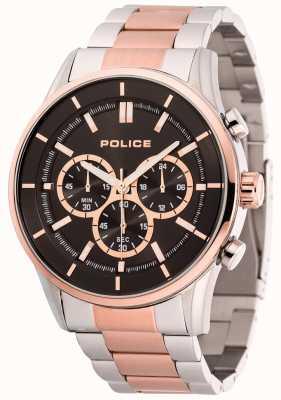 Police Mens Rush Stainless Steel And Rose Gold Bracelet Black Dial 15001JSTR/02M