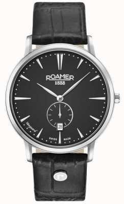 Roamer Mens Vanguard Slim Line Small Second Black Leather Strap 980812415509