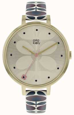 Orla Kiely Womens Ivy Watch Pale Gold Case Navy Burgundy Strap OK2190