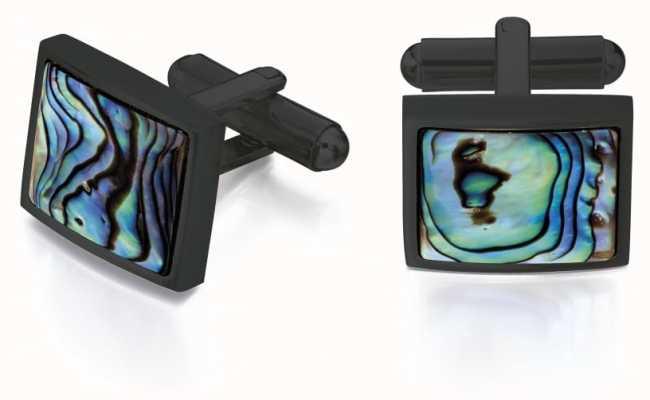 Fred Bennett Men's Black Ion Plated Steel Paua Shell Cuff Links V526