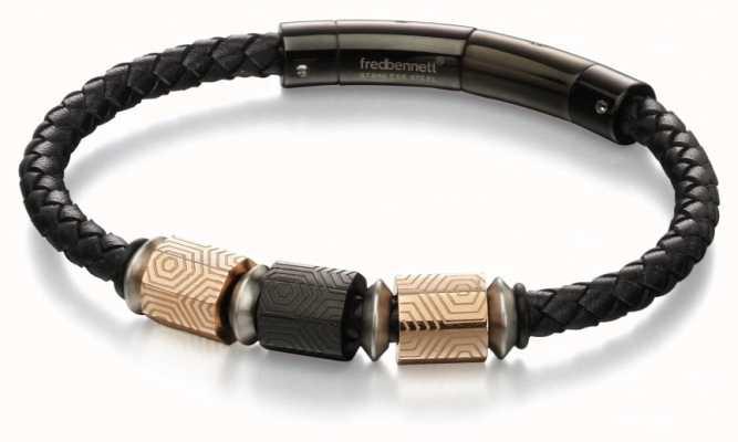 Fred Bennett Rose Gold IP Stainless Steel Black Leather Bracelet B4982