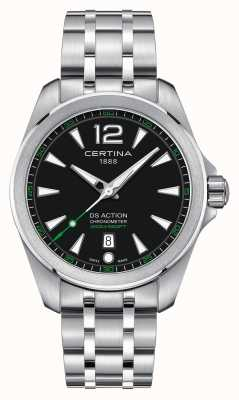 Certina Mens Ds Action Watch Quartz Stainless Steel Bracelet Black Dial C0328511105702