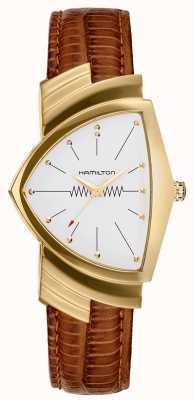 Hamilton Ventura Gold Cased Brown Leather Strap Watch H24301511