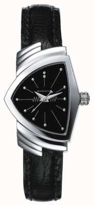 Hamilton Womens Ventura Stainless Steel And Black Leather Watch H24211732