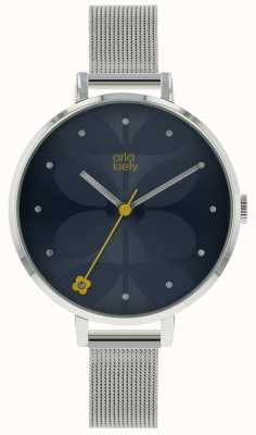 Orla Kiely Large Silver Case Navy Blue Sunray Dial Silver Mesh Strap OK4061