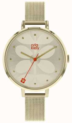 Orla Kiely Womens Large Pale Gold Case Cream Sunray Dial OK4062