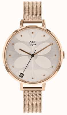 Orla Kiely Womens Ivy Rose Gold Mesh Bracelet OK4064