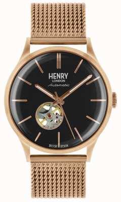 Henry London Mens Heritage Automatic Rose Gold Plated Mesh Bracelet HL42-AM-0286