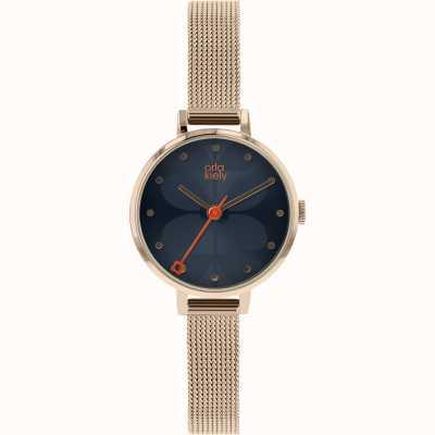 Orla Kiely Womens Ivy Rose Gold Mesh Bracelet Blue Dial OK4068