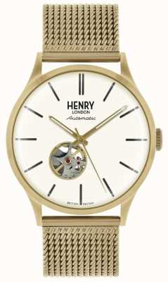 Henry London Mens Automatic Gold Tone Mesh Bracelet White Dial HL42-AM-0284