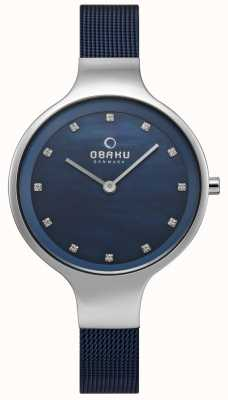 Obaku Womens Sky Watch Blue Mesh Bracelet V173LXCLML