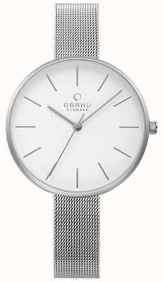 Obaku Womens Viol Watch Silver Steel Mesh Bracelet V211LXCIMC