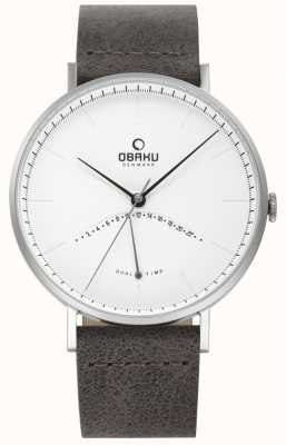 Obaku Mens Elm Watch Black Leather Strap White Dial V213GUCIRJ