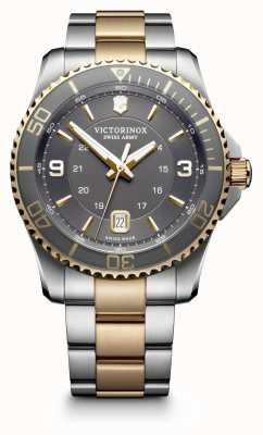 Victorinox Swiss Army Mens Maverick Special Large GS Two Tone Bracelet Grey Dial 249126