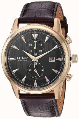 Citizen Mens Chronograph Date Brown Leather Strap CA7003-06E