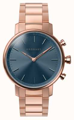 Kronaby 38mm CARAT Bluetooth Rose Gold Bracelet Blue Dial A1000-2445 S2445/1