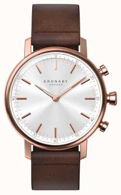 Kronaby 38mm CARAT Bluetooth Rose Gold Leather Strap Smartwatch A1000-1401