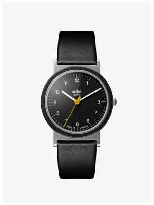 Braun Classic 1989 Tribute Design Black Leather Strap Black Dial AW10