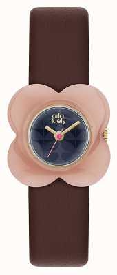 Orla Kiely Pink Resin Flower Case Burgundy Strap OK2174
