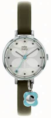 Orla Kiely Silver Case Silver White Sunray Dial Olive Patent OK2187