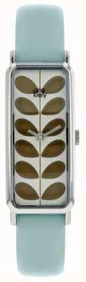 Orla Kiely Silver Rectangular Case Olive Stem Print Dial Sky OK2179