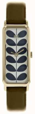 Orla Kiely Pale Gold Rectangular Case Stem Print Dial OL OK2180